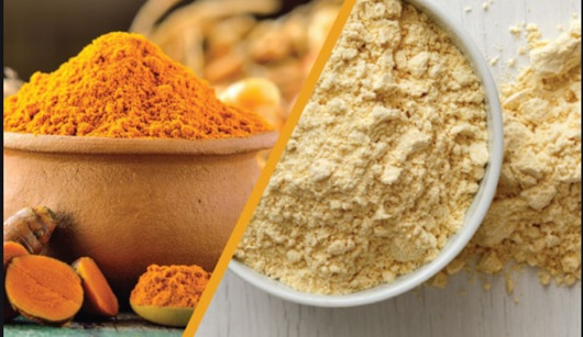 Gram flour and turmeric